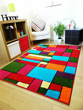NEW LARGE SMALL MODERN THICK COLOURFUL RUGS BRIGHT VIBRANT SOFT LUXURIOUS MATS