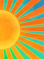 ART PRINT POSTER PAINTING ABSTRACT SUNRISE SUN RAYS ORANGE BLUE SPOKES LFMP0261