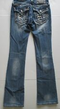 Miss Me Distressed Frayed Pocket Bling Jeans Size 25 Waist x 33 Long Boot Cut