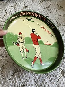 BEVERWYCK 1934 BEER Ale Art Deco TRAY ALBANY N.Y. VTG Rare Golf Electro-Chemical