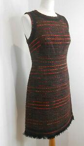 BNWT Kate Spade So Foxy Multi Tweed Fringe boucle pencil dress US 4 UK 8 10 NEW