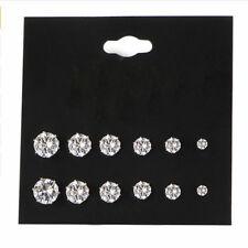 6 Pairs Fashion Women Jewelry Silver CZ Crystal Rhinestone Ear Stud Earrings