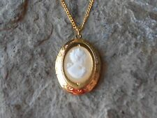 """VICTORIAN WOMAN PORTRAIT CAMEO GOLD PLATED LOCKET - QUALITY - 1"""" - WHITE"""