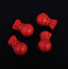4pcs Red Cinnabar Chinese Luck Fu Word Wealth Pendant Bead Jewelry Finding 20mm