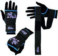 Islero Ladies Pink Gel Gloves MMA Kick Boxing Muay Thai Martial Arts Hand Wraps