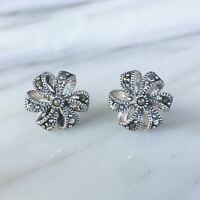 Sterling Silver 925 Marcasite Vintage Style 12mm Ribbon Bow Stud Earrings