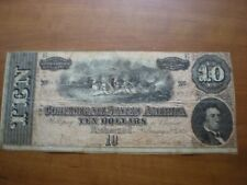 1864 $10 Dollar Bill Type 68 Confederate States Richmond Va Civil War Note