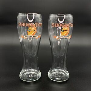 Shock Top Belgian White Beer Pilsner Glasses Set of 2 Orange