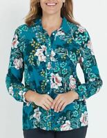 MILLERS Shirt Plus Size 12 14 16 18 20 22 Top Blouse Green Long Sleeve Floral