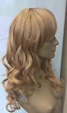 medium blonde curly wavy fringe very long hair wig fancy dress cosplay free cap