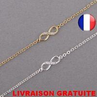 Bracelet Infinity Infiny Mode Strass Femme Zirconium Idée Cadeau Bijoux Amitié