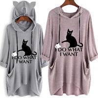 Women Cat Ear Print Hoodie 3/4 Sleeve Hooded Jumper Pullover Top Sweatshirt Plus