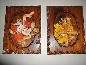 Vintage 1970's Ozark Hand Carved Plaques Set of 2 Floral Bouquets Signed