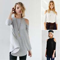 Women's O-Neck Off Shoulder Half Sleeve Summer Loose T-Shirt Long Blouses CHK