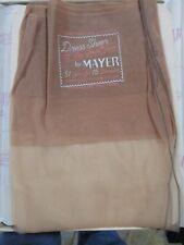1 Pr Vintage Mayer 15D Seamed Full Fashion Sheer Nylon Stockings 10 Med Honey