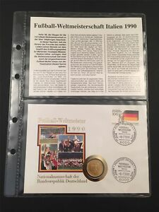 GERMANY COIN COVER 1990 FOOTBALL SOCCER WC DEUTSCHLAND FUßBALL-WELTMEISTER u180