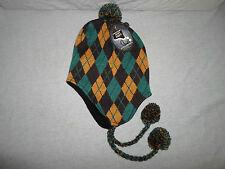 New! Peruvian Knit Hat Argyle Beanie Yellow Brown Green *Braid & Pom Pom* Winter