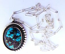 Large Navajo Spiderweb Turquoise Bisbee Sterling Silver Necklace Pendant Signed