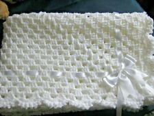 LOVELY HAND CROCHET BABY BLANKET IN WHITE  WITH WHITE RIBBON & BOW (1)
