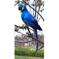 Fake Artificial Parrot Feather Bird 45cm Budgie Garden Home Decoration Blue