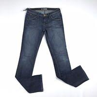 Hudson Jeans Womens Dark Blue Straight Leg Size 27 Stretch Low Rise Ripped Denim