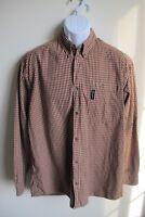 Columbia red brown plaid long sleeve shirt mens L