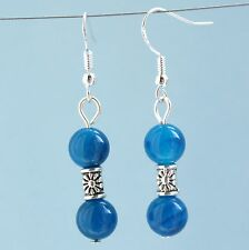Gemstone Earrings with Sterling Silver Hooks New Blue Stripe Agate Drops LB116