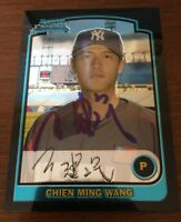 CHIEN MING WANG 2003 BOWMAN CHROME AUTOGRAPHED SIGNED AUTO BASEBALL CARD BDP165