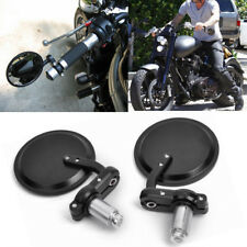 """Black Mini Motorcycle Round 7/8"""" Handle Bar End Clamp-on Rearview Side Mirrors"""