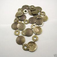 Vintage Bronze Tone  Retro Round Circle Necklace Sweater Chain 1M Finding