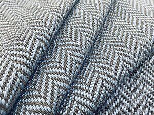 Holland & Sherry Wool Herringbone Fabric- Villarrica / Blue Grey 2.20 yd DE11740