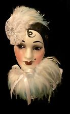 1980s Woman Mask Ceramic Wall Art By Studio Original San Francisco Used Vintage