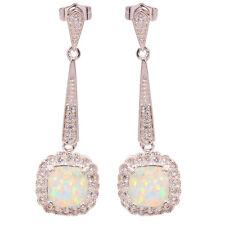 """Silver Stud Earrings 1 1/2"""" Oh2566 White Fire Opal Zircon Women Jewelry Gemstone"""