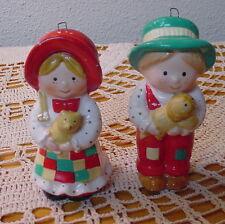 1980 Holly Hobbie Ceramic Patchwork Country Boy & Girl Christmas Ornaments