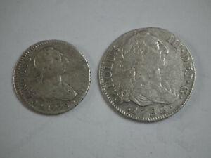 Pièce Espagne ; lot de 2 pièces argent 1 réale 1772 et 2 réales 1788