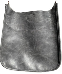 Ahdorned! Classic Faux Leather Messenger Bag - GRAY - No Strap -Silver Hardware!