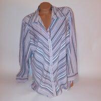 Fashion Bug Womens Blouse Button Down 18 20 Pink White Stripe Long Sleeve