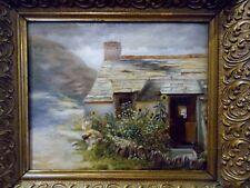 Cottage House Garden Flowers Antique Oil on Canvas Painting art Landscape Framed