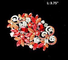 "3.75"" Long Clear and Red Rhinestone Brooch Pin"