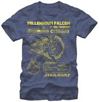 Star Wars Millennium Falcon YT-1300 Transport Navy Heather Men's T-Shirt New