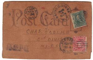 Leather, Olivebridge, NY, Aug 14, 1905, Scotch Whiskey, Oversize, Postage Due 1¢