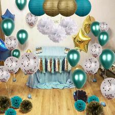 Latex Confetti Balloons Golden Teal Tissue Pompom Paper Lanterns Party Decor