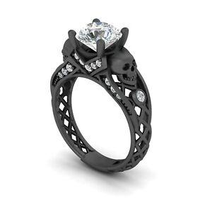 1.30Ct White Round Diamond Two Skull Gothic 925 Silver Black Rhodium Plated Ring