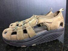 Skechers Shape-Ups Trim Step Toning Sandals Brown 11805 Fisherman Sz 9.5 - B4