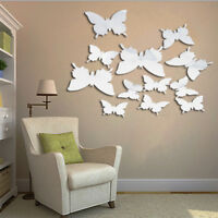 Removable 3D SILVER MIRROR BUTTERFLY'S Art Home Decor PVC Wall Stickers 12Pcs