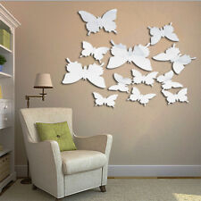 UK ORIGINAL✔3D SILVER MIRROR BUTTERFLY'S Art Home Decor PVC Wall Stickers 12Pcs