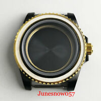 Black PVD Plated Watch Case Gold Crown fit NH35 NH36 NH35A Movement Screw Down