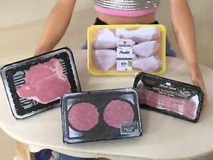 4pc BARBIE Doll FOOD MEAT LOT STEAK 🥩 BACON BURGER 1:6 SCALE 69-66-63-28