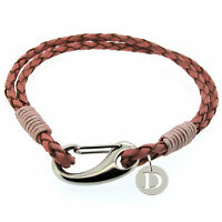 Girls Pink Leather Bracelet personalised with a 925 Silver Initial Pendant Charm