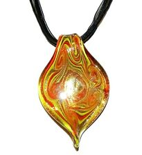 MN382 Red Yellow & Bronze Swirl Flat Leaf Twist Lampwork Glass Pendant Necklace